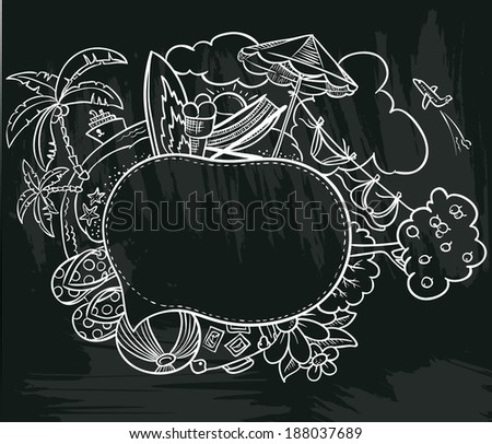 Chalkboard poster with summer speech bubble - stock vector