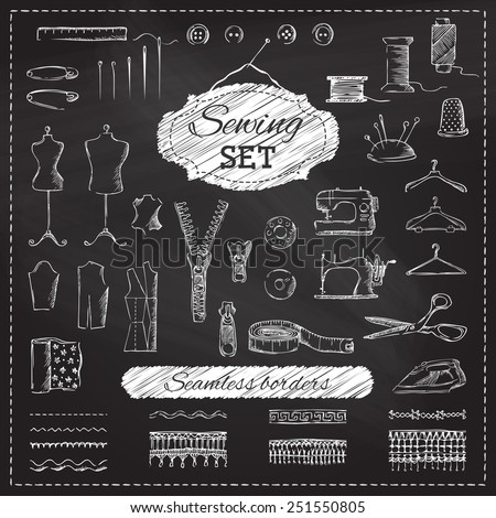 Chalkboard sewing set. Vector set of sketch sewing elements on blackboard background. - stock vector
