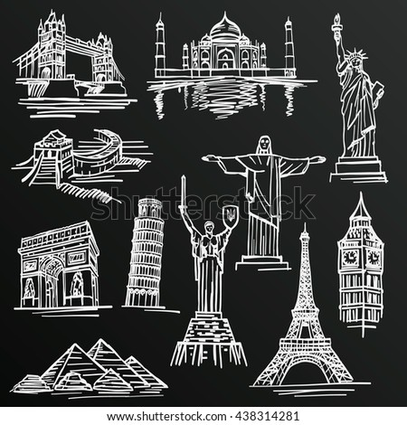 Chalkboard sketch of hand drawn tourist places, template design element, Vector illustration