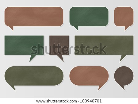 Chalkboard speech bubbles and balloons illustration collection background vector - stock vector