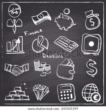 Chalkboard style  finance and banking icons - stock vector