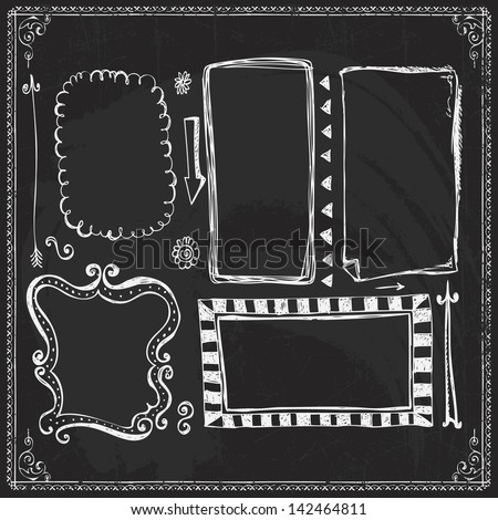 Chalkboard Style Hand Drawn Doodle Frames and Design Elements - stock vector