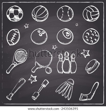 Chalkboard style sports icons - stock vector