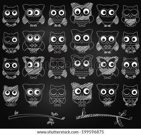 Chalkboard Style Vector Set of Cute Owls and Branches  - stock vector