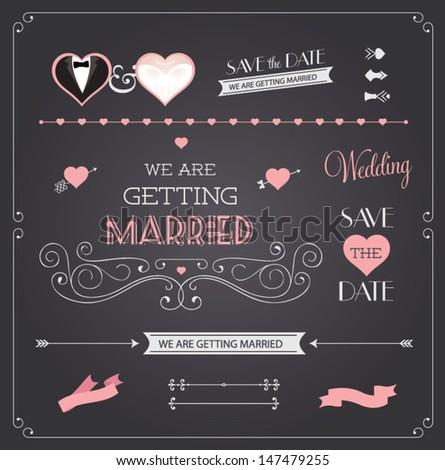 Chalkboard style wedding design and decorative elements, vintage banner, ribbon, labels, frames, badge, stickers. Vector love element.  - stock vector