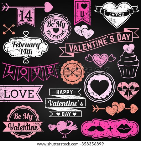 Chalkboard Valentine's Day Ornaments and Badges in Vector Format - stock vector