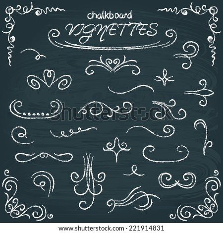 Chalkboard vector collection of calligraphic design elements - stock vector