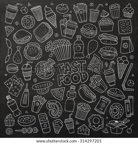 Chalkboard vector hand drawn Doodle cartoon set of objects and symbols on the fast food theme
