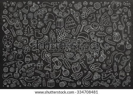 Chalkboard vector hand drawn Doodle cartoon set of objects and symbols on the Merry Christmas theme - stock vector