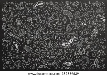 Chalkboard vector hand drawn doodles cartoon set of Music objects and symbols - stock vector