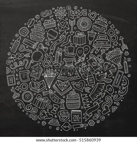 Chalkboard vector hand drawn set of Wedding cartoon doodle objects, symbols and items. Round composition