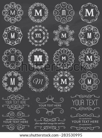 Chalkboard Vintage Circle Frames & Design Elements - stock vector