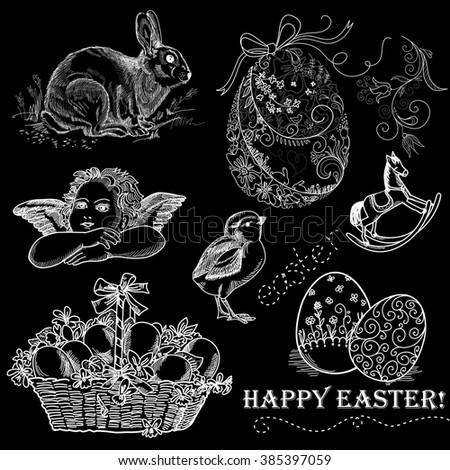 Chalkboard Vintage Easter Set - stock vector