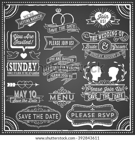 Chalkboard Wedding Invitation Elements - Retro, hand-drawn vintage chalkboard  elements.  File is layered, each object is grouped separately; colors global for easy editing.  Texture can be removed. - stock vector