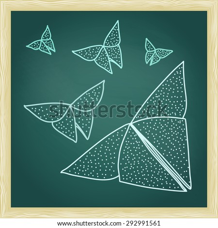 Chalkboard with drawing of origami butterflies in hairline outline style. - stock vector