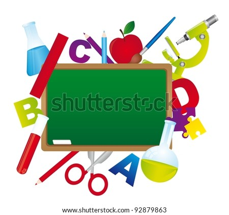 chalkboard with school elements isolated over white background. vector