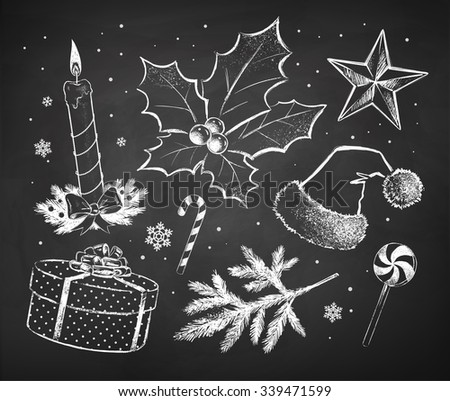 Chalked Christmas sketches collection drawn on black chalkboard background. - stock vector