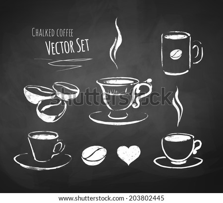 Chalked coffee set. Vector illustration. - stock vector