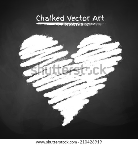 Chalked heart. Vector sketch. - stock vector