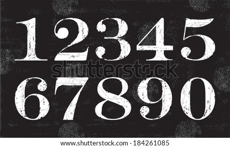 Chalky Numbers, Vector - stock vector