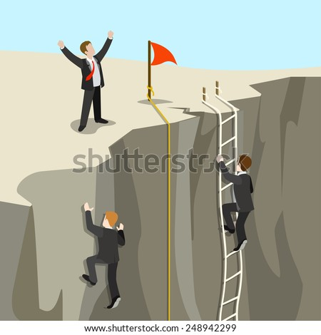 Challenge carrier goal achievement business concept flat 3d web isometric infographic vector. Businessmen competition climb from abyss to top new horizon. Creative people collection. - stock vector