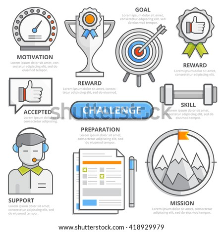 Challenge design concept, accepted, motivation, reward, goal, skill, preparation, support, mission, potential, goal development. Modern isolated vector illustration, challenge infographic template. - stock vector