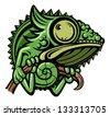 Chameleon cartoon character isolated on white background - stock