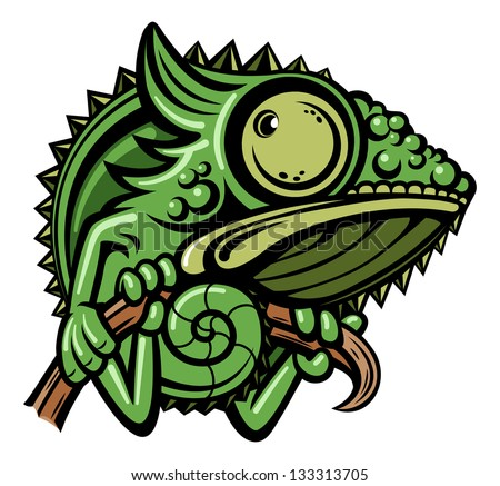 Chameleon cartoon character isolated on white background - stock vector