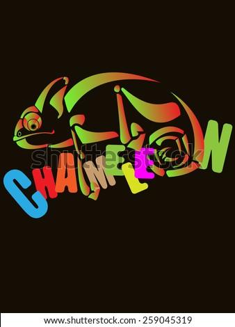 Chameleon. Design of vector illustrations. - stock vector