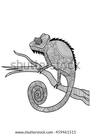 Chameleon For Coloring Page Design Relaxation Adults Vector Illustration Isolated On