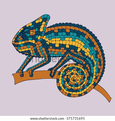 Chameleon sitting on a branch. abstract vector illustrations multicolored mosaic chameleon, lizards, reptiles with small scales. illustrations drawn by hand with pencil, pen. logo. Icon. Vector. - stock vector