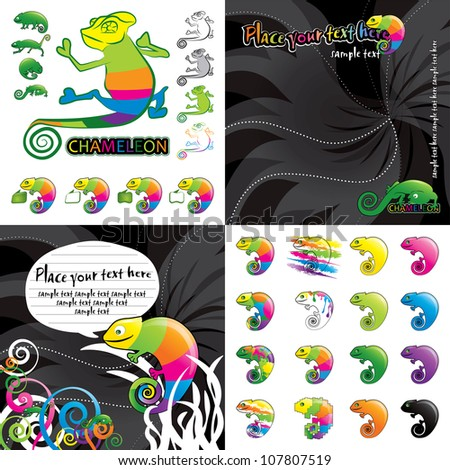 Chameleon vector colorful illustration - stock vector
