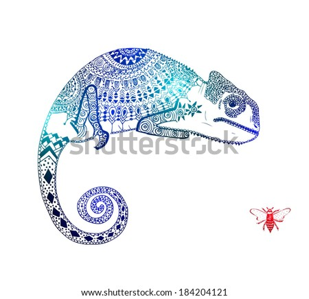 chameleon with wasp - stock vector