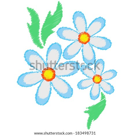 Chamomile flowers - stock vector