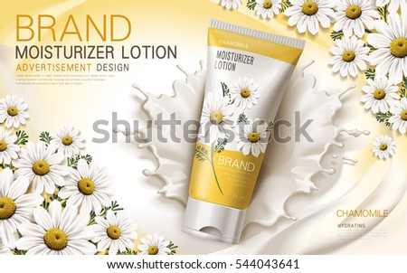 chamomile moisturizer lotion contained in a tube with flower and cream elements, 3d illustration