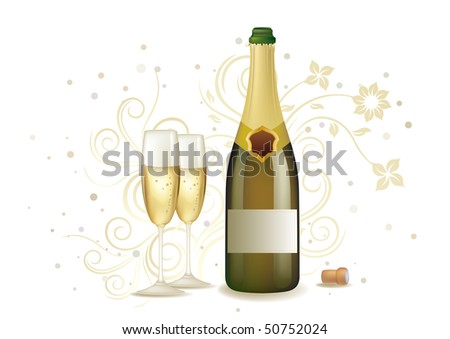 champagne and floral background - stock vector