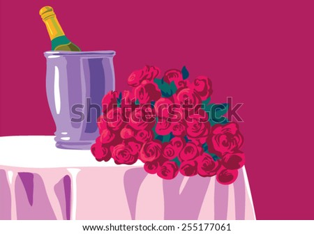 champagne and flowers on table - stock vector