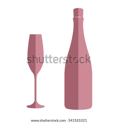 Champagne bottle and glass isolated on white background flat style. Wedding, anniversary, birthday, Valentine's day, party invitations. Vector illustration. - stock vector