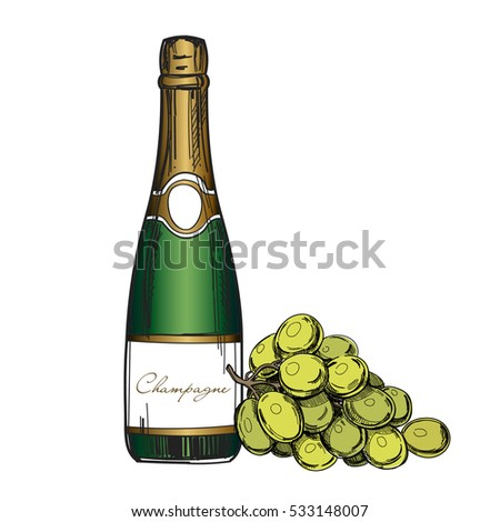 Champagne Bottle Green Grapes Vector Template Stock Vector 533148007 ...