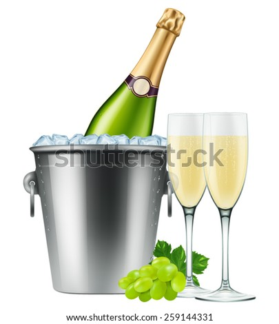 Champagne bottle in an ice bucket with two flutes and grapes. Photo-realistic EPS10 Vector.