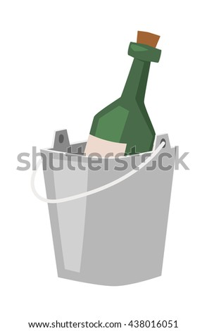 Champagne bottle in bucket with ice and glasses of champagne isolated on white. Alcohol champagne bucket bottle party cooler cold ice. Metal luxury gold vector champagne bucket romantic sign. - stock vector