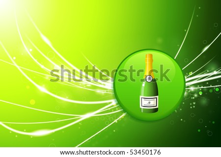 Champagne Button on Green Abstract Light Background Original Illustration - stock vector