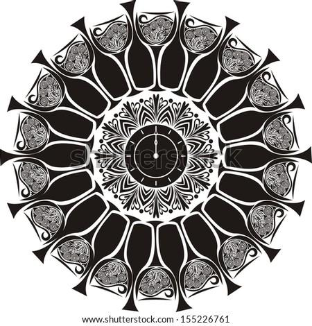 Champagne clock glasses vector illustration - stock vector
