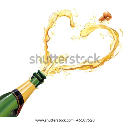 Champagne exploding for celebration - stock vector