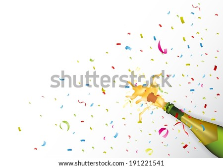 Champagne explosion with ribbon and confetti  - stock vector