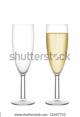 Champagne flutes. Two  narrow glasses, empty and filled. Vector illustration, easy to isolate. - stock vector