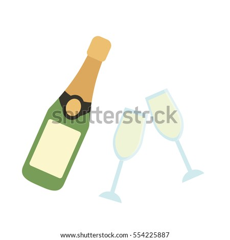 Champagne Glass Bottle Flat Icon Template Stock Vector (2018 ...