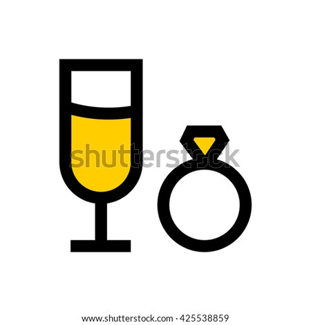 Champagne glass and wedding ring, valentine's day, love line icon. Pixel perfect fully editable vector icon suitable for websites, info graphics and print media. - stock vector