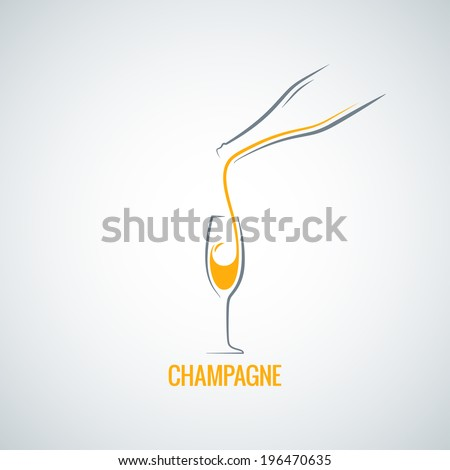 champagne glass bottle background - stock vector