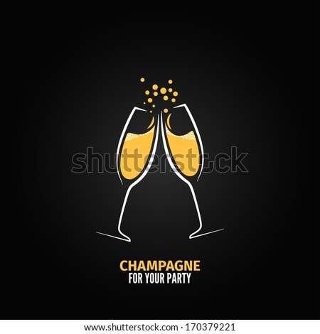 champagne glass design party menu background - stock vector